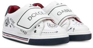 Dolce & Gabbana (ドルチェ & ガッバーナ) - Dolce & Gabbana Kids logo strap pattern sneakers