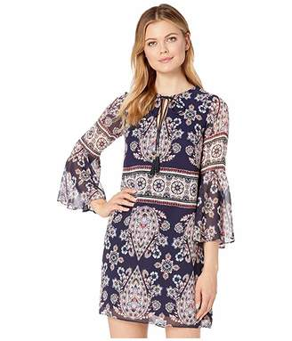 Vince Camuto Printed Chiffon Bell Sleeve Shift Dress with Tassels