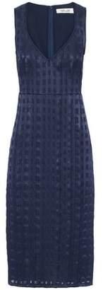 Diane von Furstenberg Pintucked Fil Coupé Chiffon Midi Dress
