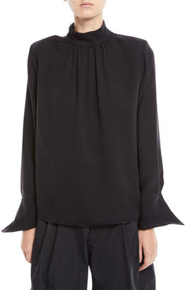 Marc Jacobs Gathered Mock-Neck Long-Sleeve Silk Blouse w\/ Shoulder Pads