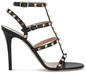 Valentino Rockstud 100 Black Leather Sandals
