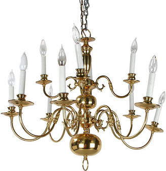One Kings Lane Vintage Massive Brass Chandelier with Canopy - Galleria d'Epoca