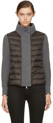 Moncler Black and Grey Down Knit Jacket