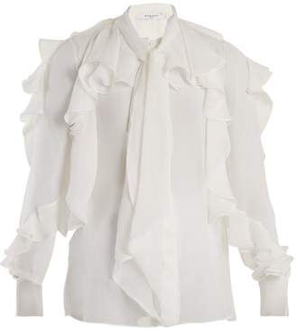 Givenchy Ruffle-trimmed silk-chiffon blouse