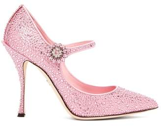 Dolce & Gabbana Crystal Embellished Satin Mary Jane Pumps - Womens - Pink
