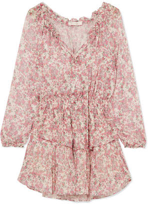 LoveShackFancy Tiered Floral-print Silk-georgette Mini Dress - Pink