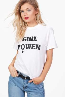 boohoo Petite Olivia 'Girl Power' Slogan Tee