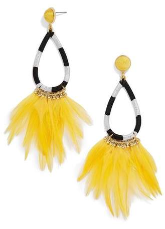 Marigold Feather Shoulder Duster Earrings