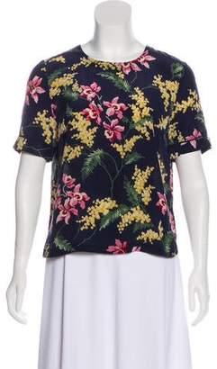 Whistles Silk Floral Print Top