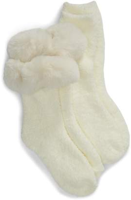 Nordstrom Butter 2-Pack Faux Fur Trim Crew Socks