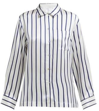 Asceno - Striped Sandwashed Silk Pyjama Shirt - Womens - Navy Stripe 7f0929687