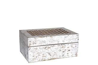 Mela Artisans Trellis Box Large in Distressed Silver
