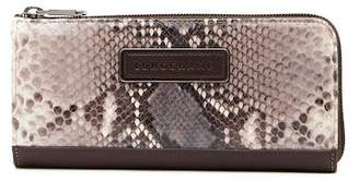 Longchamp Legend Snake Embossed Leather Zip Wallet