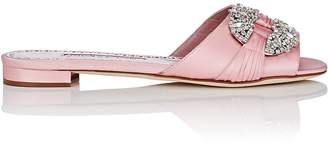 Manolo Blahnik Women's Pralina Satin Slide Sandals