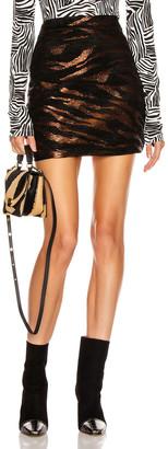 Andamane ANDAMANE Bertha Mini Skirt in Bronze & Black Tiger   FWRD