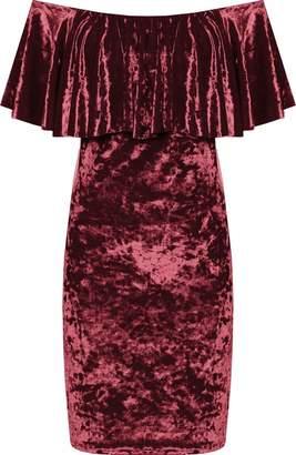 Bardot Miss Foxy Crushed Velvet Frill Detail Party Cocktail Bodycon Mini Dress Plus