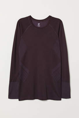 H&M Long-sleeved Sports Top - Purple