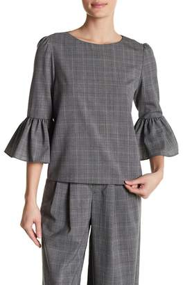 Alice + Olivia Bernice Bell Sleeve Plaid Virgin Wool Top