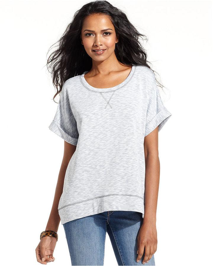 Style&Co. Sport Top, Short-Sleeve High-Low Sweatshirt