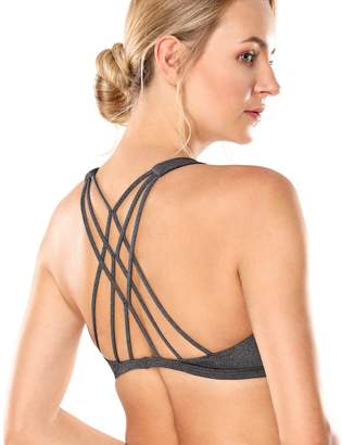 CRZ YOGA Women's Removable Pads Yoga Top Cross Strappy Back Sports Bra L