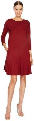 Jil Sander Navy Knit Long Sleeve Dress with Flounce Hem Women's Dress