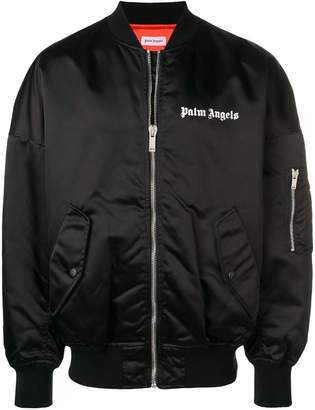Palm Angels logo print bomber jacket