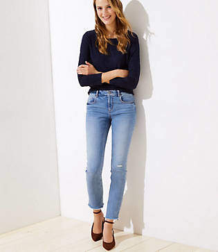 LOFT Destructed Straight Leg Jeans in Authentic Mid Indigo Wash