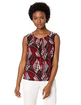 Kasper Women's Petite Sleeveless Jewel Neck Houndstooth Print ITY