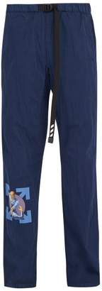 Off-White Off White Print Cotton Blend Track Pants - Mens - Navy