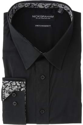 Nick Graham Solid Stretch Point Collar Shirt with Contrast Men's Long Sleeve Button Up