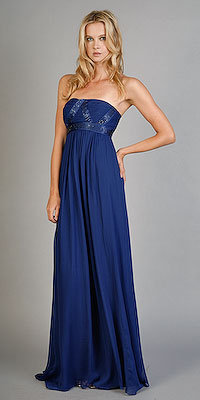 Silk Sapphire Chiffon Evening Gowns by BCBGMAXAZRIA