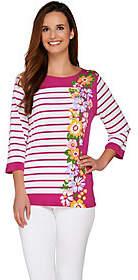 Bob Mackie Bob Mackie's 3/4 Sleeve Floral and StripePrinted Top
