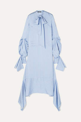Rokh Tie-detailed Striped Satin Dress - Blue