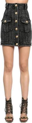 Balmain High Waist Denim Skirt W/ Gold Buttons