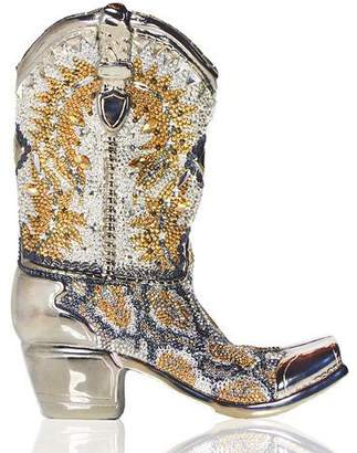 Judith Leiber Couture Cassidy Crystal Cowboy Boot Evening Clutch Bag, Silver/Multi
