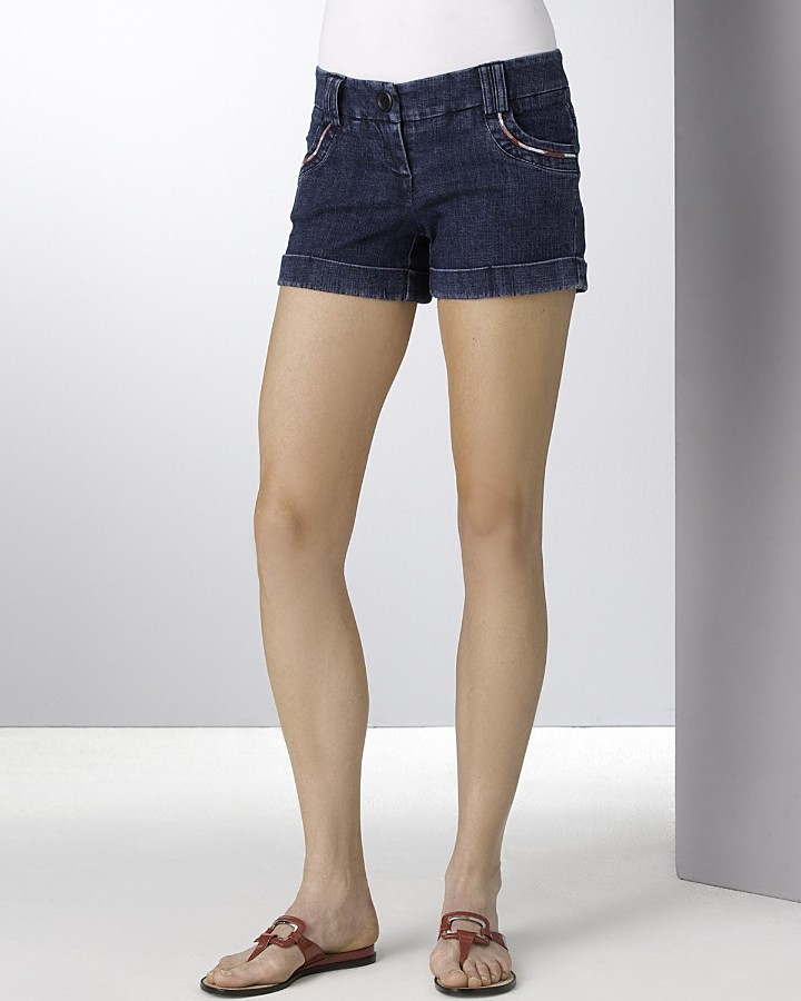 Aqua Tipped Pocket Denim Shorts