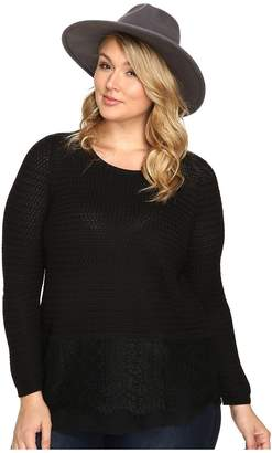 Lucky Brand Plus Size Lace Mix Sweater Women's Sweater