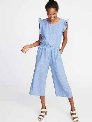 Old Navy Sleeveless Linen-Blend Utility Jumpsuit for Women