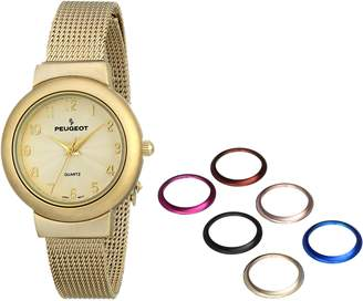 Peugeot Women's 642G Gold-Tone Watch with Interchangeable Bezels