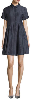 Emporio Armani Button-Front Short-Sleeve Crinkle-Cotton Shirtdress
