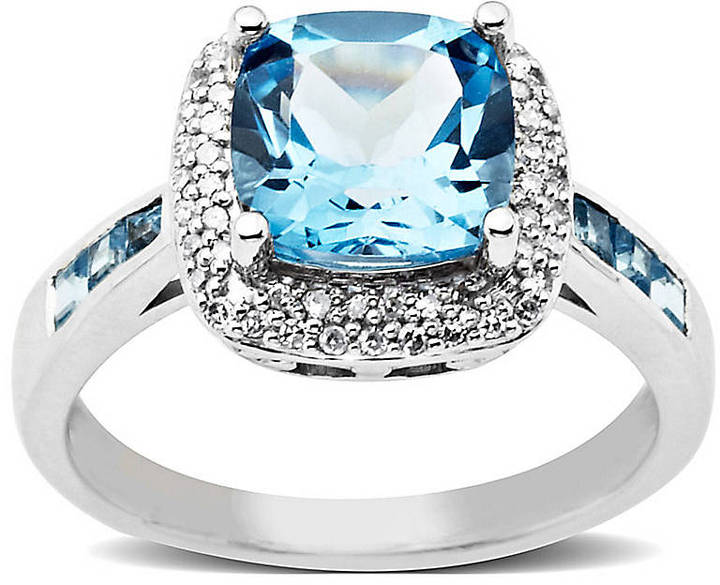 Lord & Taylor Blue Topaz and Diamond-Accented Ring in 14 Kt. White Gold