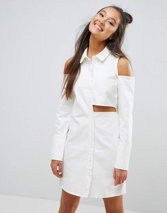AsosASOS Denim Deconstructed Shirt Dress in Off White