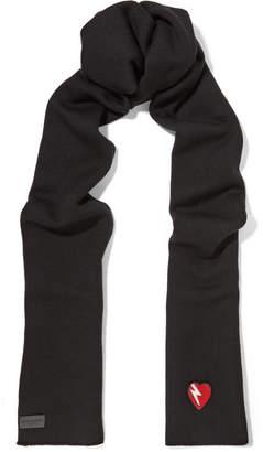 Saint Laurent Appliquéd Wool Scarf - Black