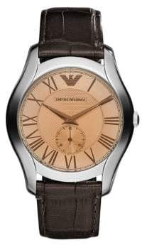 Emporio Armani Large Round Amber Dial with Subsecond on Brown Croco Embossed Leather Strap