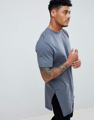 Asos Design DESIGN super longline t-shirt with extra long side splits and raw edges