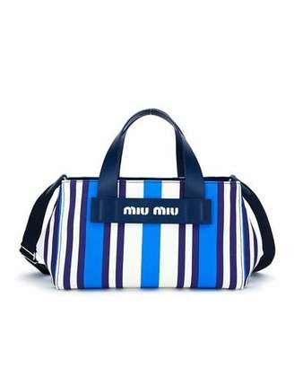 Miu Miu Striped Hemp & Leather Small Tote Bag