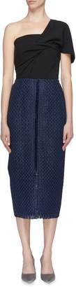Roland Mouret 'Mortia' lattice weave panel one-shoulder dress