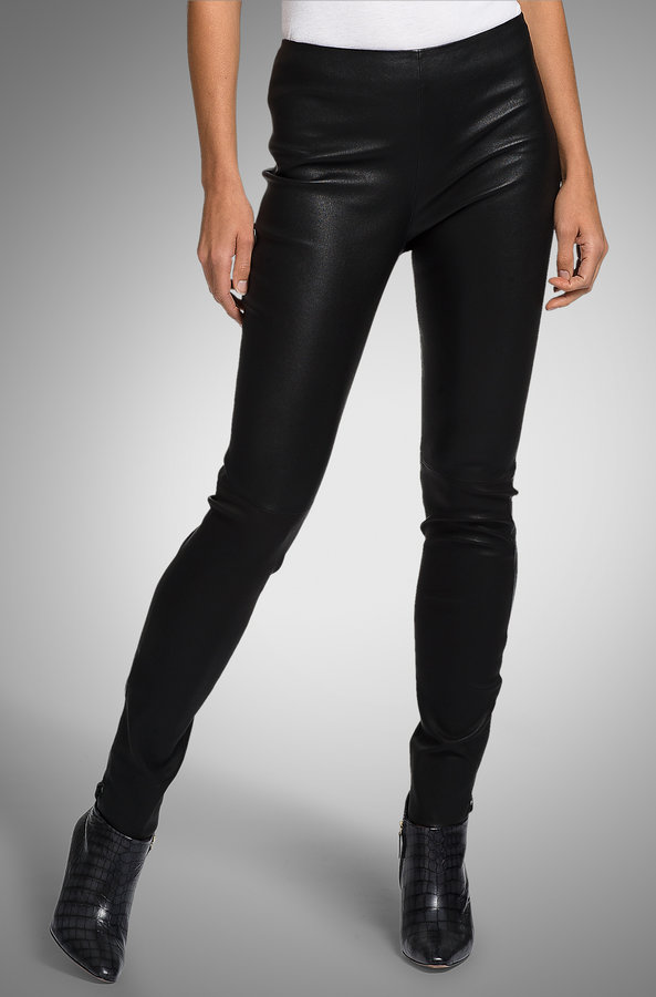 Shiny Lamb Leather Pants by BOSS Black