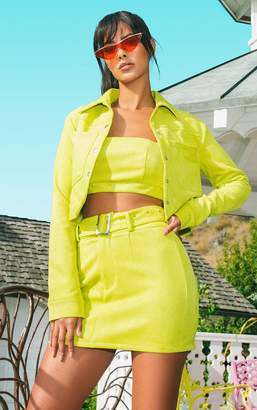 PrettyLittleThing Lime Green Bonded Suede Crop Jacket