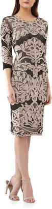 JS Collections 3\/4-Sleeve Soutache Mesh Dress